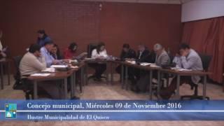 Concejo Municipal Miércoles 09 de Noviembre 2016