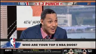 Ryan Hollins EXCITED Who are your top 5 NBA duos? | FIRST TAKE 7/17/2019