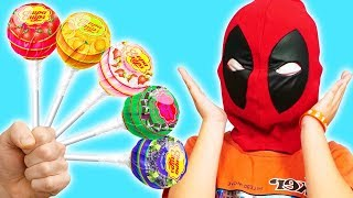 Deadpool Play Game Finger Family Color With Lollipop | 동요와 아이 노래 | 어린이 교육  | Phong Ly Studio