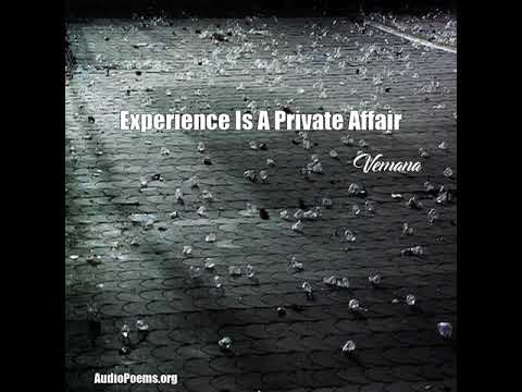 Experience Is A Private Affair (Vemana Poem)