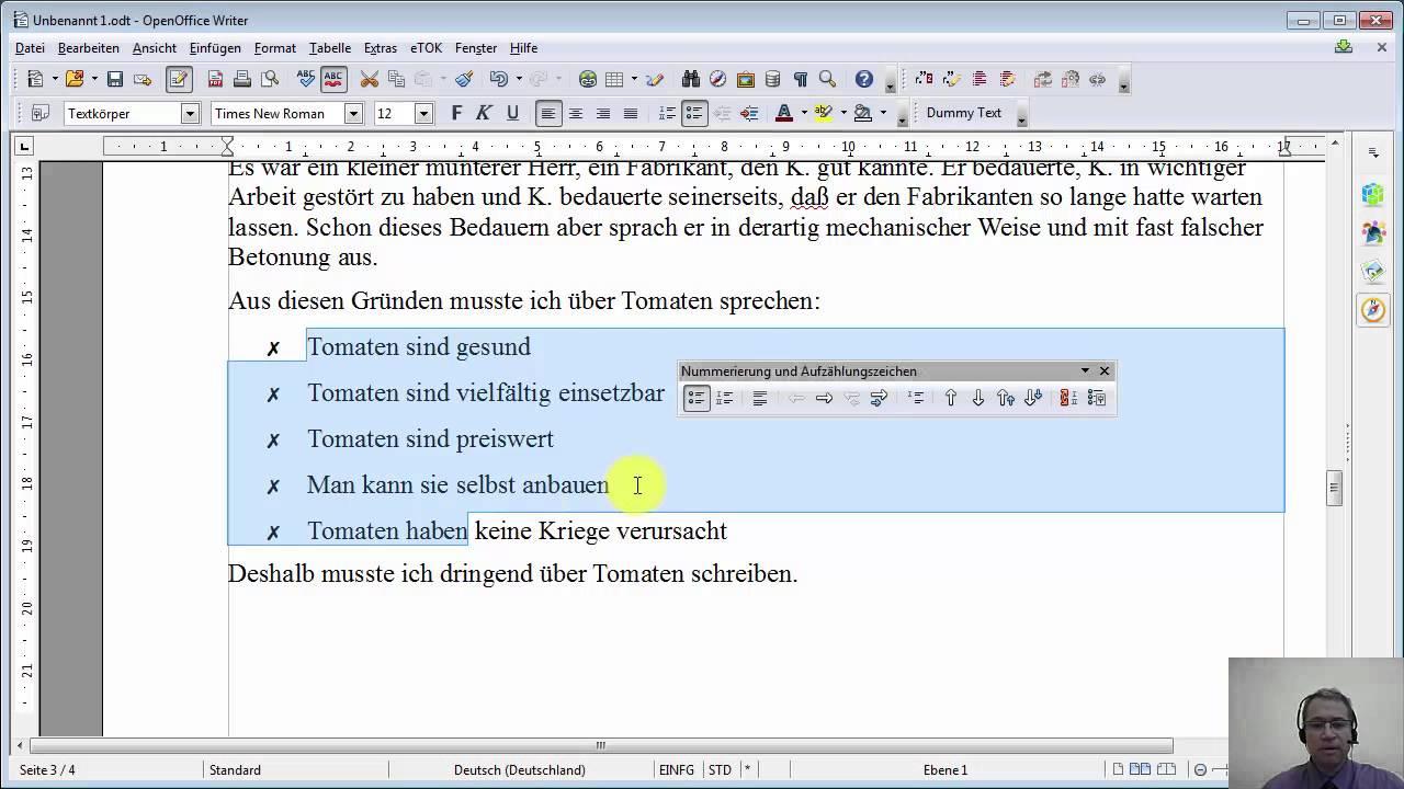 Film #005 OpenOffice 4.1.1 Writer ::Nummerierung und ...