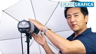 250Wストロボ照明発光部とアンブレラ、ライトスタンドのセットです。 多...