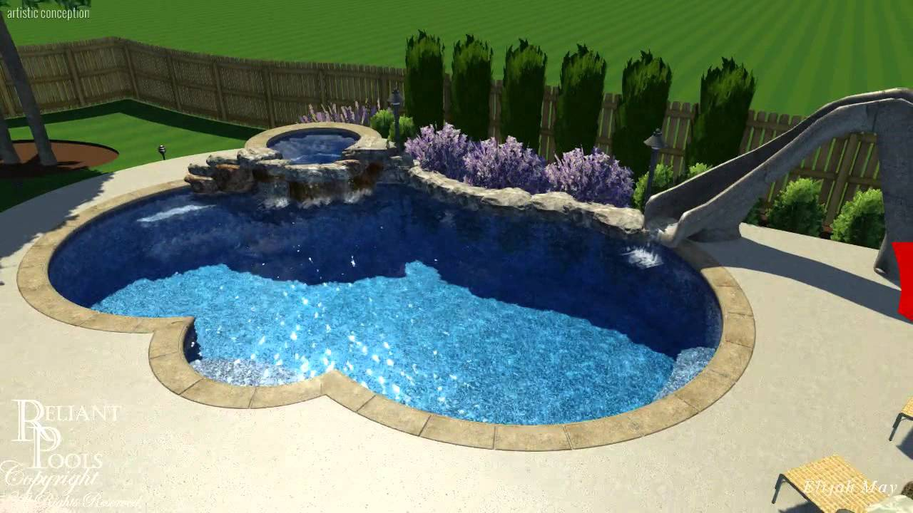 Etonnant Stevens Swimming Pool Spa And Slide Design   YouTube