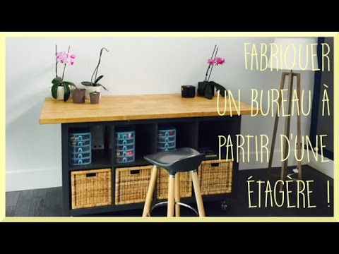 diy fabriquer un bureau partir d 39 une tag re. Black Bedroom Furniture Sets. Home Design Ideas