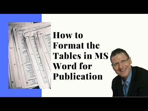 How To Format Tables In MS Word For Publication?