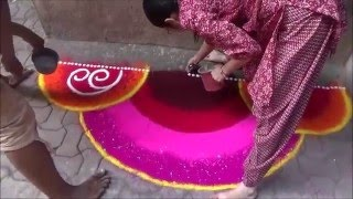 Artistic Rangoli design Rangoli with beautiful color combination