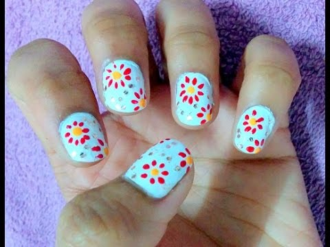 simple flower diwali nail art design  flowers nail art