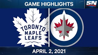 NHL Game Highlights | Maple Leafs vs. Jets - Apr. 02, 2021