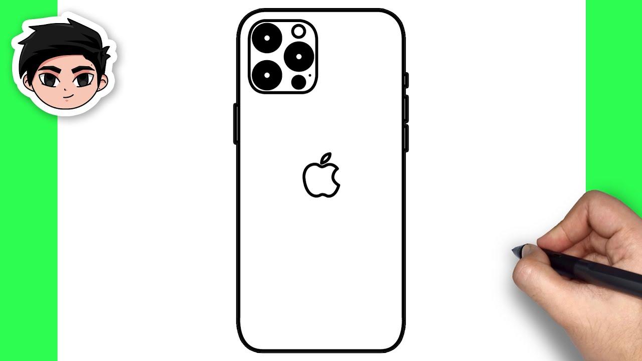 Elinde İphone Cep Telefonu Çizimi - Kolay Karakalem İphone Çizimi - (How To Draw Mobile Phone Easy)