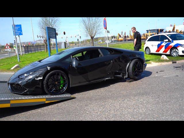 Nieuwe Lamborghini platgereden door cementwagen... #2