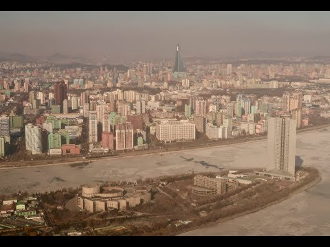 Aerial view over Pyongyang in Soviet helicopter