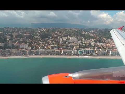 EasyJet Stunning Approach and Landing in Nice Côte d'Azur Airport NCE