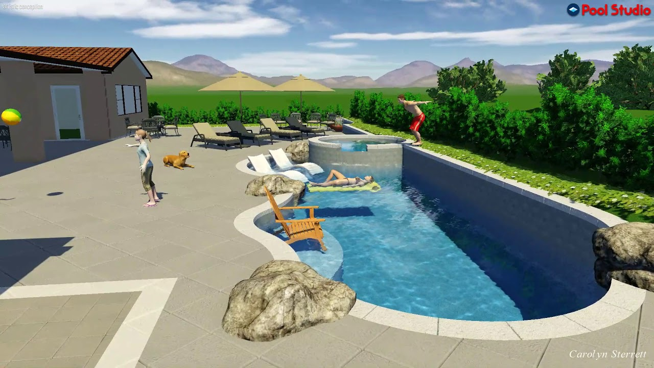 Swimming Pool built into the slope and Outdoor kitchen - YouTube