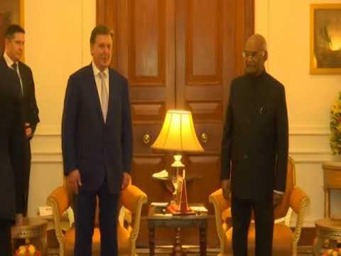Latvian prime minister calls on Indian president in New Delhi