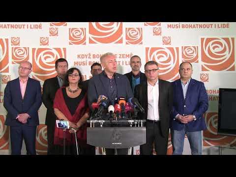 Záznam tiskové konference vedení ČSSD k výsledkům voleb do Poslanecké sněmovny Parlamentu ČR