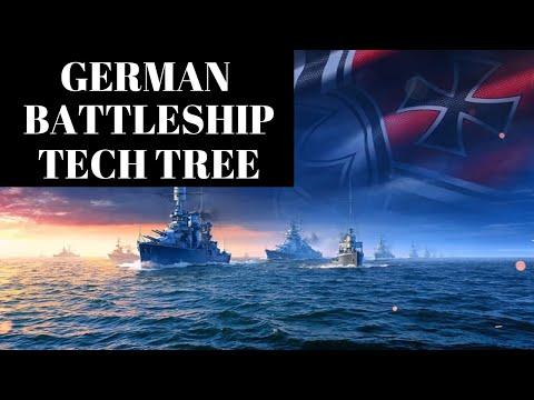 German Battleship Tech Tree | World of Warships Legends - YouTube