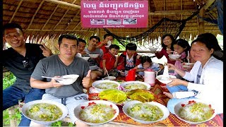 Cambodian Traditional Noodle Fish Soup & Pancake at Teuk Chhou District in Kampot Province Cambodia