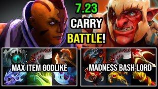 INFINITE CARRY 7.23 BATTLE! Madness Bash Lord Troll Warlord Vs Ultra Split Push Anti Mage God DotA 2