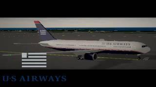 Simulateur de vol Roblox SFS (fr) U.S Airways Boeing 767-300 timelapse de vol.