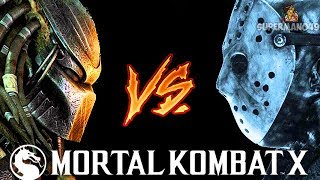 "PREDATOR FIGHTS JASON VOORHEES INSANE BATTLE! - Mortal Kombat X: ""Leatherface"" & ""Predator"" Gameplay"