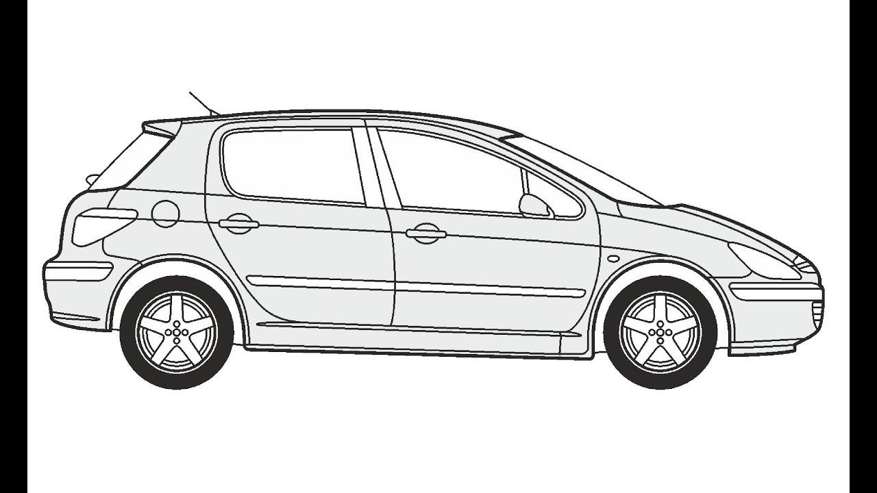 How to Draw a Peugeot 307 / Как нарисовать Peugeot 307