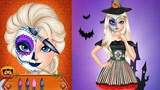 Elsa Halloween Face Makeup - Halloween Painting and Tattoo - Funny Halloween Game Video