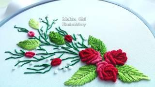 EMBROIDERY: ROSES  Bullion stitch / ВЫШИВКА: РОЗЫ РОКОКО
