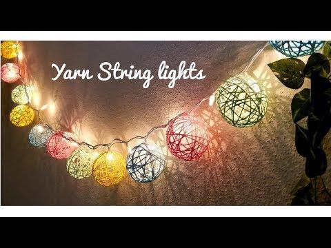 DIY Yarn string lights | Diwali/Christmas home decor