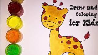 How to draw girrafe, coloring and drawing| cara mewarnai dan menggambar jerapah untuk anak tk