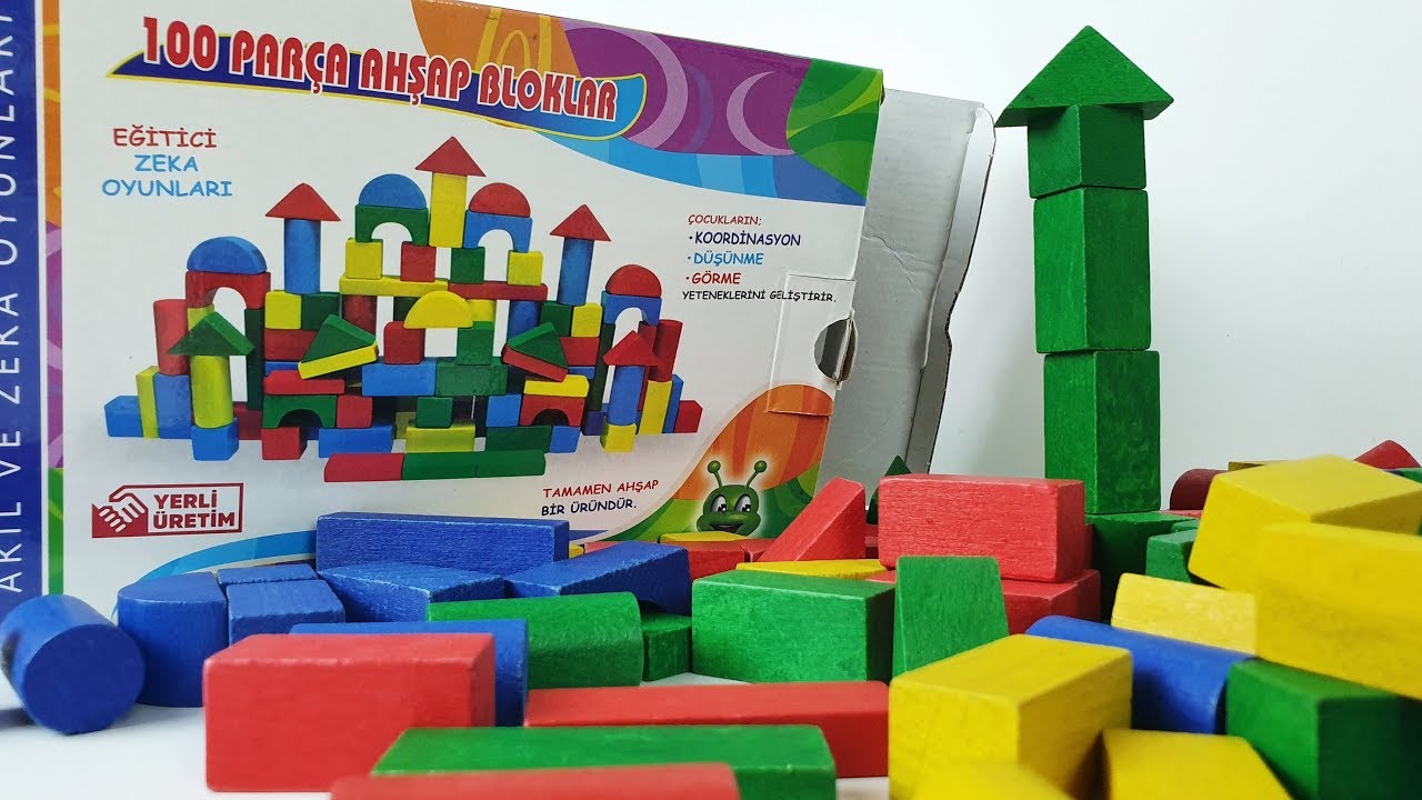 100 parça ahşap bloklar seti açtık kule yaptık