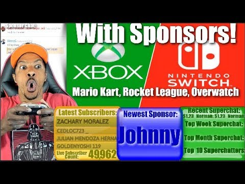 Nintendo Switch & Xbox One With Sponsors! Mario Kart, Rocket League, Overwatch! 4K Stream
