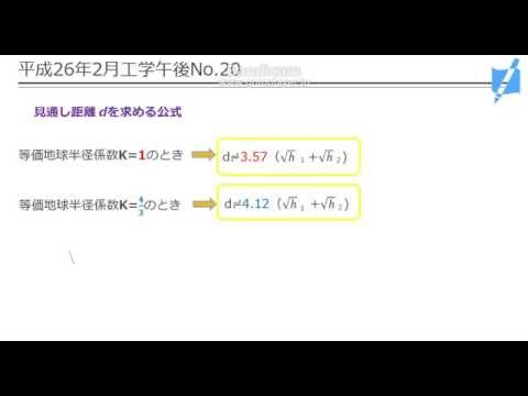 【一陸特過去問講義】平成26年2月工学午後No.20(見通し距離)