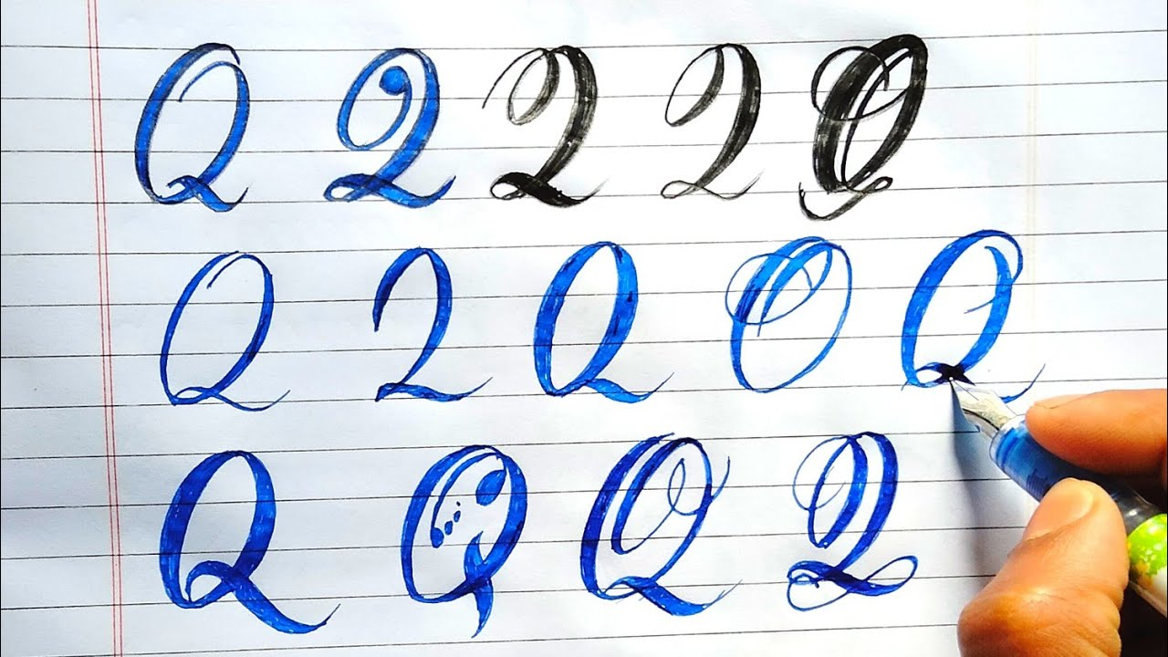 How to write stylish Letter Q  in different ways Alphabets q stylish  writing  RUA sign writing