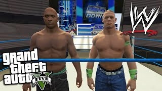 GTA 5 Mods - WWE MOD w/ THE ROCK, JOHN CENA & SMACK DOWN ARENA (GTA 5 Mods Gameplay)