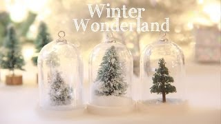 Winter Wonderland - How To Make a Water Less Snow Globe Ornament - Miniature Trees Thumbnail