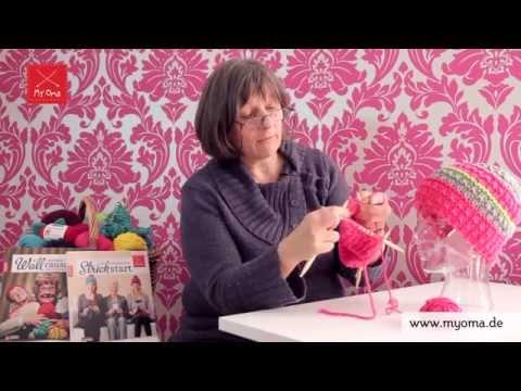 Stricken lernen mit den Omas – DIY Beanie Mütze für Anfänger 3/7: Rechte Maschen stricken