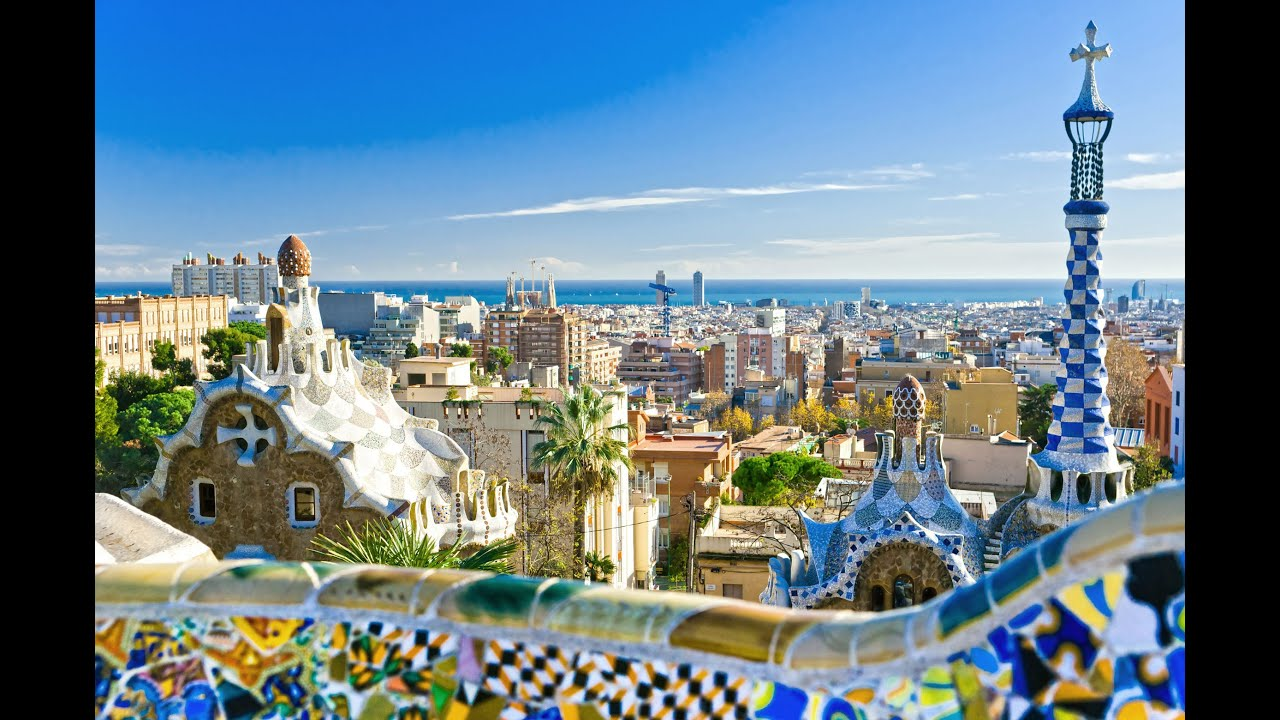 Barcelona City view from Gaudi park