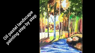 Oil Pastel Landscape Painting Step By Step