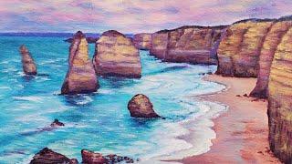 Australian Coastline Seascape Acrylic Painting Live Tutorial