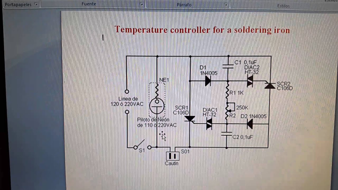 Temperature controller for soldering iron (Power