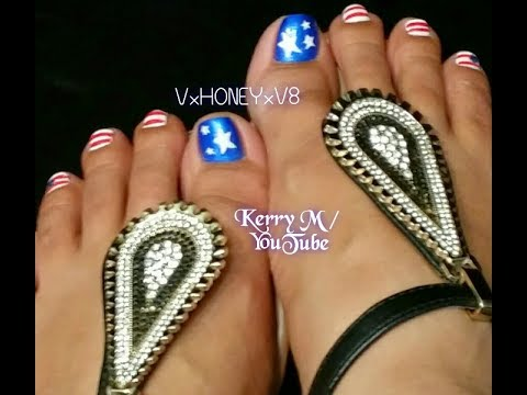 4th of july toe nail art youtube 4th of july toe nail art prinsesfo Image collections