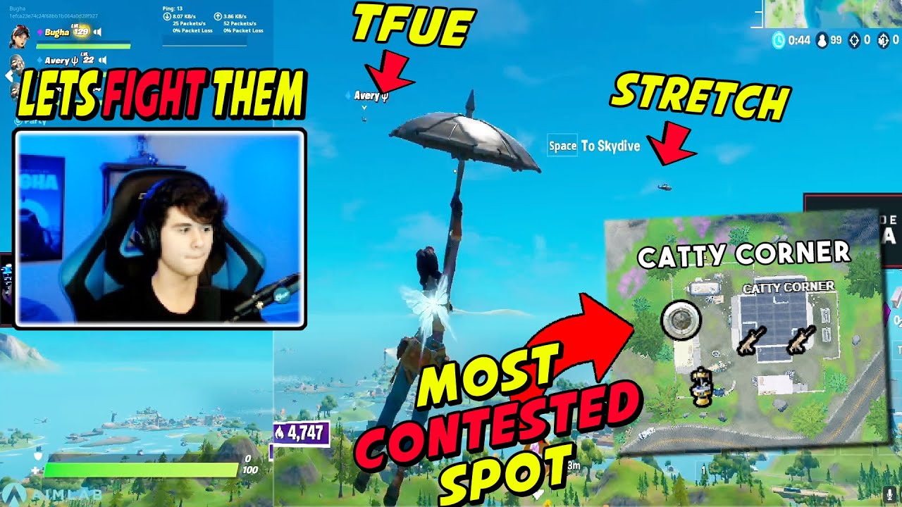 Bugha Fights Stretch & Tfue's Trios For THIS OP Lading Spot & Explain Why You MUST Land There