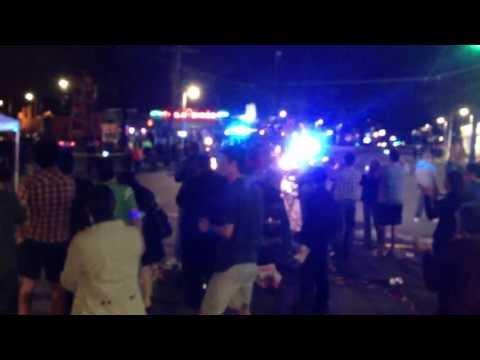 Boston SWAT Team Truck Responding to Cheers in Watertown