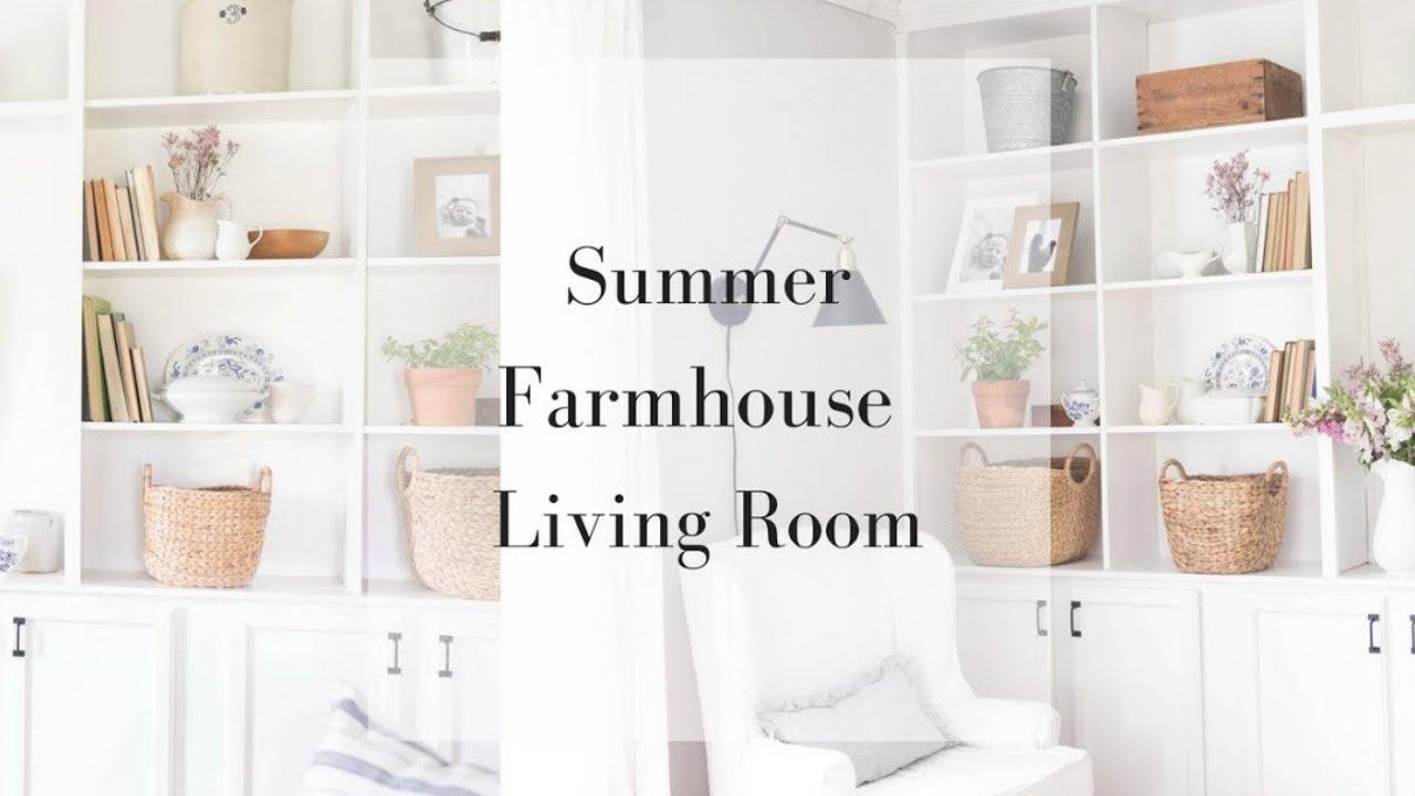 Farmhouse Living Room Decor How To Decorate Bookshelves Youtube