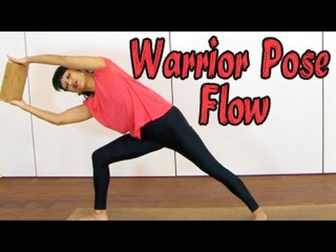 yoga for beginners  warrior pose flow using a block  youtube