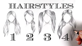 4 Hairstyles Long Hair / How To Draw Hair Easy / Pencil Sketch #29