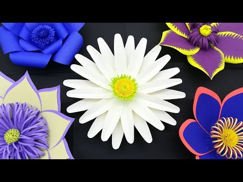 Gaint flower decoration Ideas | Paper Flower design Backdrop With Free Template | DIY