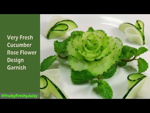 Save Very Fresh Cucumber Rose Flower Design Garnish - How To Make Cucumber Rose Pictures
