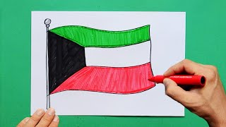 How to draw and color the National Flag of Kuwait