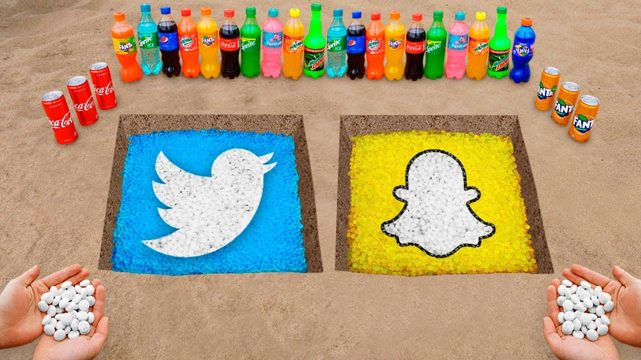 Download Snapchat and Twitter Logo in the Hole with Orbeez, Coca Cola, Mentos & Popular Sodas